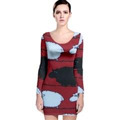 Sheep Long Sleeve Velvet Bodycon Dress
