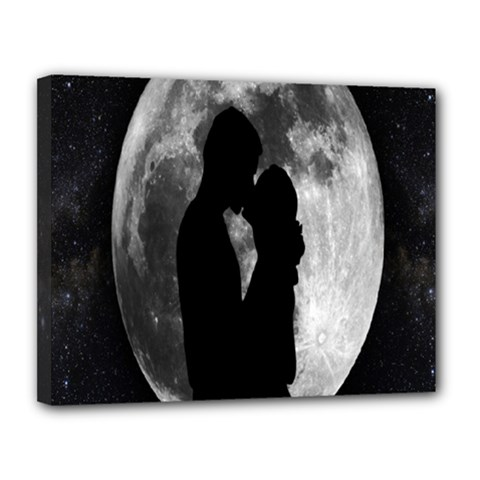 Silhouette Of Lovers Canvas 14  X 11