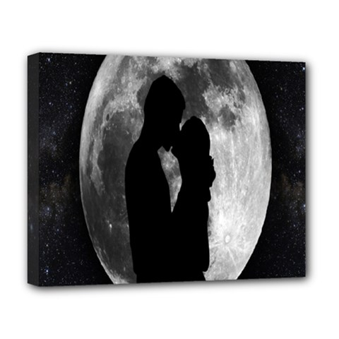 Silhouette Of Lovers Deluxe Canvas 20  x 16