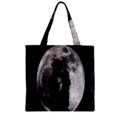 Silhouette Of Lovers Zipper Grocery Tote Bag