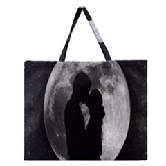 Silhouette Of Lovers Zipper Large Tote Bag