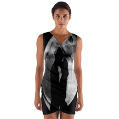 Silhouette Of Lovers Wrap Front Bodycon Dress