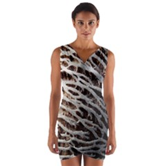Seed Worn Lines Close Macro Wrap Front Bodycon Dress