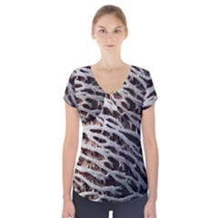 Seed Worn Lines Close Macro Short Sleeve Front Detail Top