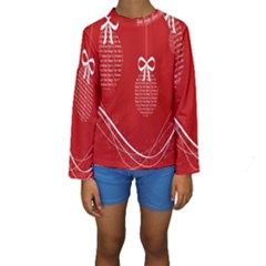 Simple Merry Christmas Kids  Long Sleeve Swimwear