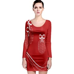 Simple Merry Christmas Long Sleeve Bodycon Dress