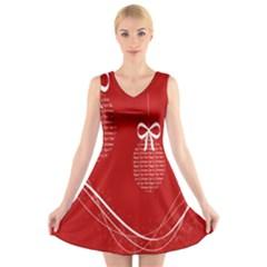 Simple Merry Christmas V Neck Sleeveless Skater Dress