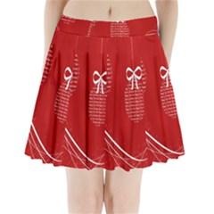 Simple Merry Christmas Pleated Mini Skirt
