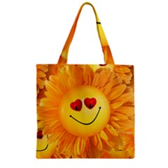 Smiley Joy Heart Love Smile Zipper Grocery Tote Bag