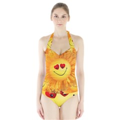 Smiley Joy Heart Love Smile Halter Swimsuit