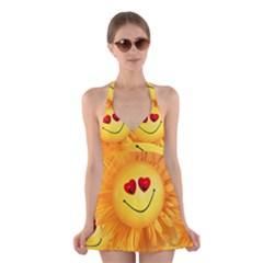 Smiley Joy Heart Love Smile Halter Swimsuit Dress