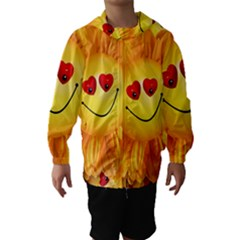 Smiley Joy Heart Love Smile Hooded Wind Breaker (kids)