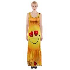 Smiley Joy Heart Love Smile Maxi Thigh Split Dress