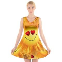 Smiley Joy Heart Love Smile V Neck Sleeveless Skater Dress