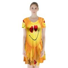 Smiley Joy Heart Love Smile Short Sleeve V-neck Flare Dress