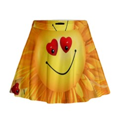Smiley Joy Heart Love Smile Mini Flare Skirt
