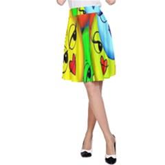 Smiley Girl Lesbian Community A-Line Skirt