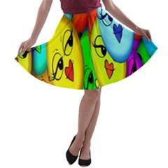Smiley Girl Lesbian Community A Line Skater Skirt