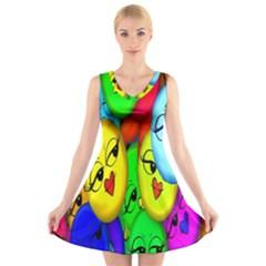 Smiley Girl Lesbian Community V Neck Sleeveless Skater Dress
