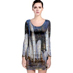 Sidney Travel Wallpaper Long Sleeve Bodycon Dress