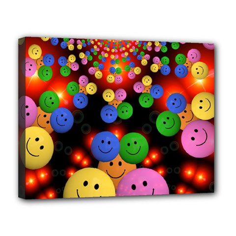 Smiley Laugh Funny Cheerful Canvas 14  x 11