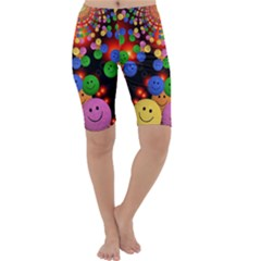 Smiley Laugh Funny Cheerful Cropped Leggings