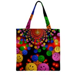 Smiley Laugh Funny Cheerful Zipper Grocery Tote Bag