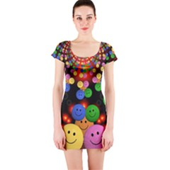 Smiley Laugh Funny Cheerful Short Sleeve Bodycon Dress
