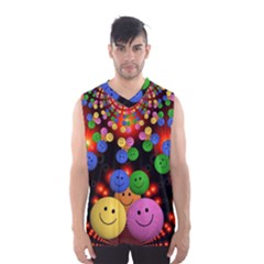 Smiley Laugh Funny Cheerful Men s Basketball Tank Top