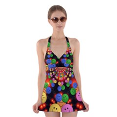 Smiley Laugh Funny Cheerful Halter Swimsuit Dress