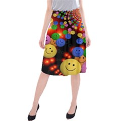 Smiley Laugh Funny Cheerful Midi Beach Skirt