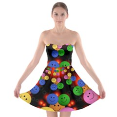 Smiley Laugh Funny Cheerful Strapless Bra Top Dress
