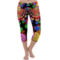 Smiley Laugh Funny Cheerful Capri Yoga Leggings