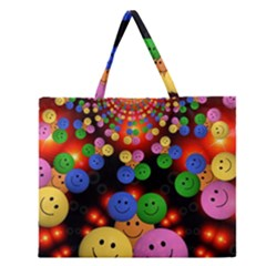Smiley Laugh Funny Cheerful Zipper Large Tote Bag
