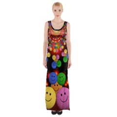 Smiley Laugh Funny Cheerful Maxi Thigh Split Dress