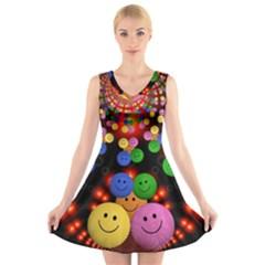 Smiley Laugh Funny Cheerful V Neck Sleeveless Skater Dress
