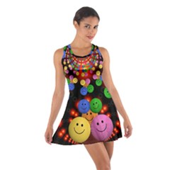 Smiley Laugh Funny Cheerful Cotton Racerback Dress