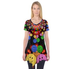 Smiley Laugh Funny Cheerful Short Sleeve Tunic