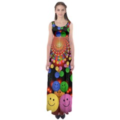 Smiley Laugh Funny Cheerful Empire Waist Maxi Dress