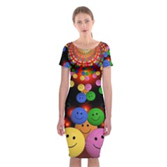 Smiley Laugh Funny Cheerful Classic Short Sleeve Midi Dress