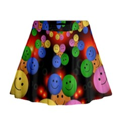 Smiley Laugh Funny Cheerful Mini Flare Skirt