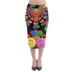Smiley Laugh Funny Cheerful Midi Pencil Skirt