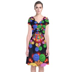 Smiley Laugh Funny Cheerful Short Sleeve Front Wrap Dress
