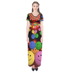 Smiley Laugh Funny Cheerful Short Sleeve Maxi Dress