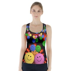 Smiley Laugh Funny Cheerful Racer Back Sports Top