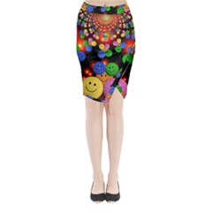 Smiley Laugh Funny Cheerful Midi Wrap Pencil Skirt