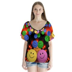Smiley Laugh Funny Cheerful Flutter Sleeve Top