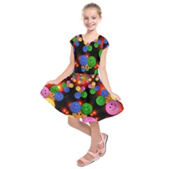 Smiley Laugh Funny Cheerful Kids  Short Sleeve Dress