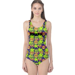 Smiley Background Smiley Grunge One Piece Swimsuit