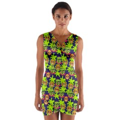 Smiley Background Smiley Grunge Wrap Front Bodycon Dress